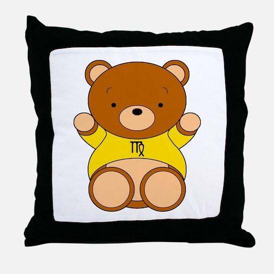 Virgo Cartoon Bear Throw Pillow