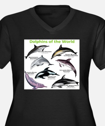 Dolphins of the World Women's Plus Size V-Neck Dar