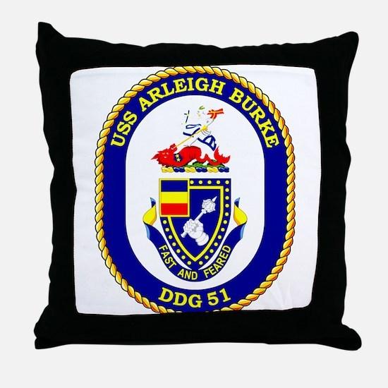 USS Arleigh Burke DDG 51 Throw Pillow