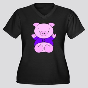 Libra Cartoon Pig Women's Plus Size V-Neck Dark T-