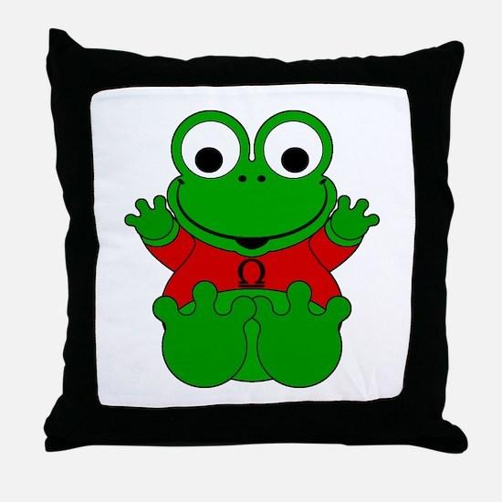 Libra Cartoon Frog Throw Pillow