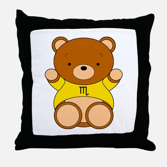 Scorpio Cartoon Bear Throw Pillow