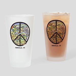 Asheville Peace Sign Original Art Drinking Glass