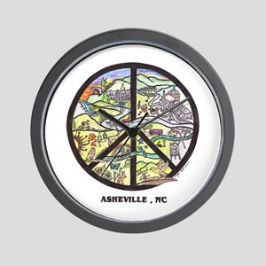 Your On Asheville Time ! Wall Clock - Peace Sign