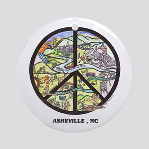 Awesome Asheville , Nc Original Art Ornament Round