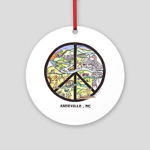 Awesome Asheville , Nc Original Art Ornament Round