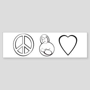 peace, love. mama milk Bumper Sticker