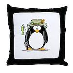 Fishing penguin Throw Pillow