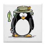Fishing penguin Tile Coaster