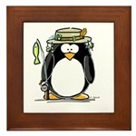 Fishing penguin Framed Tile