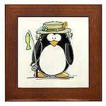 Fishing penguin Framed Tile