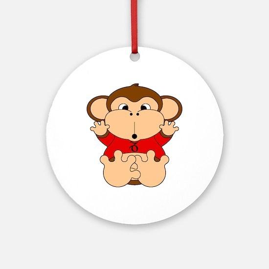Capricorn Cartoon Monkey Ornament (Round)