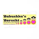 Babushka's Borscht Recipe Aluminum License Plate