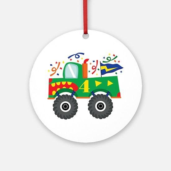 4th Birthday Monster Truck Ornament (Round)