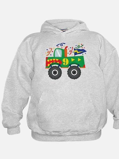 9th Birthday Monster Truck Hoodie