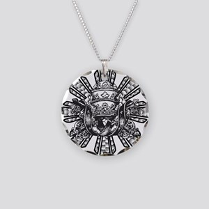 FILIPINO CROWN N KEYS Necklace Circle Charm