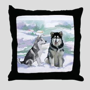 Alaskan Malamute Winter Throw Pillow