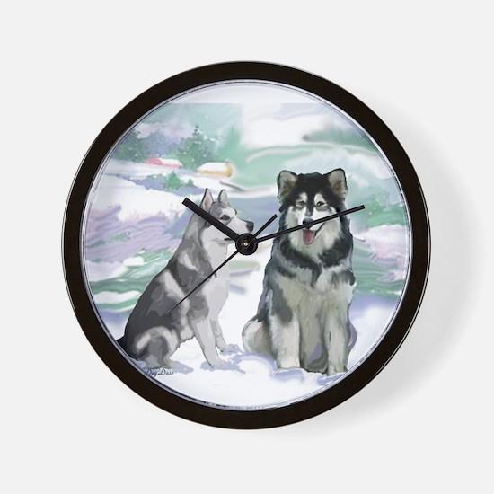 Alaskan Malamute Winter Wall Clock