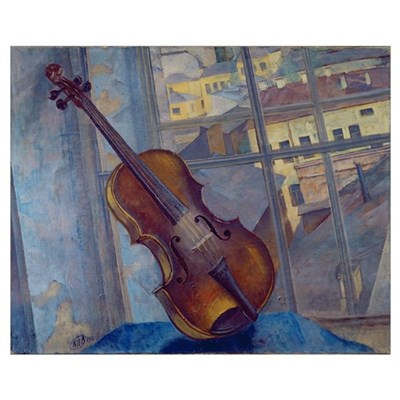 Violin, 1918 (oil on canvas) Poster