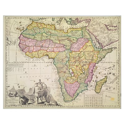 Map of Africa (hand coloured engraving) Poster