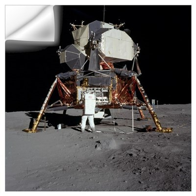 An Apollo 11 astronaut in front of the lunar modul Wall Decal