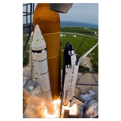 Space Shuttle Endeavour lifts off from Kennedy Spa Poster