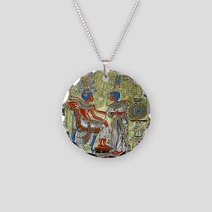 Tutankhamons Throne Necklace Circle Charm