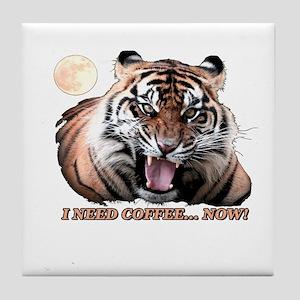 Tiger needs caffeine Tile Coaster
