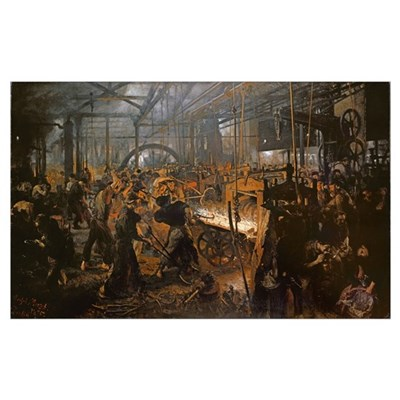 The Iron-Rolling Mill (oil on canvas), 1875 Poster
