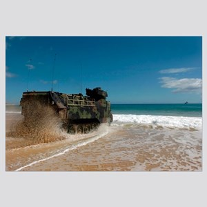 US Marines drive an amphibious assault vehicle ash
