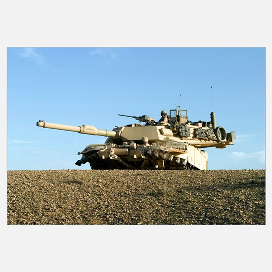 US Marines provide security in an M1A1 Abrams tank