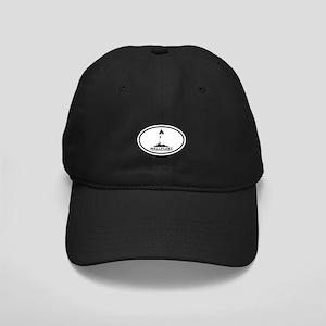 "Wellfleet MA ""Oval"" Design. Black Cap"