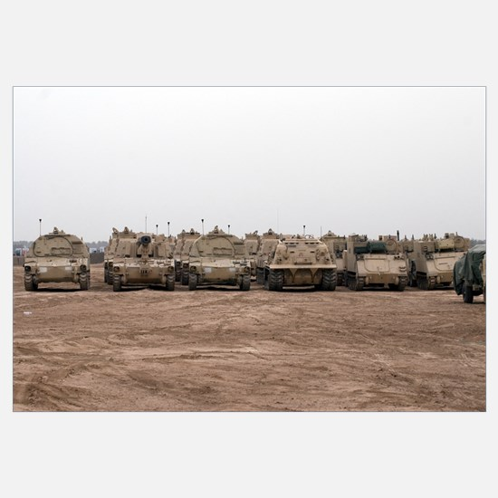 A selection of M992 CAT vehicles line up during a