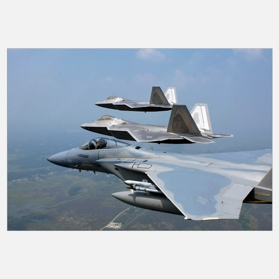 Three F/A22 Raptors fly in formation during a trai