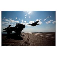 An F14D Tomcat prepares to make an arrested landin Poster