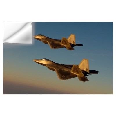 F22A Raptors fly over Langley Air Force Base Virgi Wall Decal