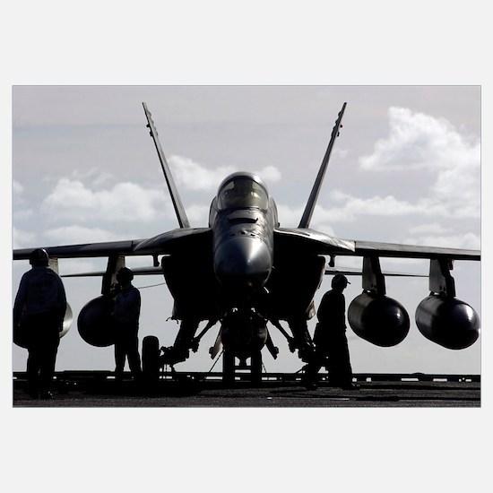 An F/A18E Super Hornet on the flight deck aboard U