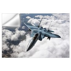 An F15C Aggressor flies over a mountain range Wall Decal