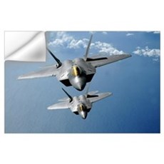 Two F22 Raptors fly over the Pacific Ocean Wall Decal