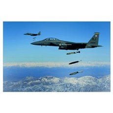 US Air Force F15E Strike Eagle aircraft drops 2000 Poster