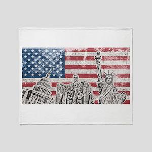 Vintage America Flag Throw Blanket