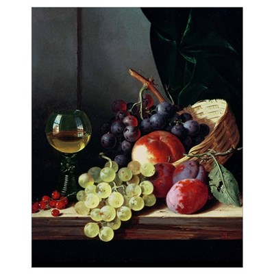 Grapes and plums (oil on canvas) Poster