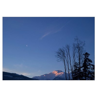 Moon and Alpenglow Canvas Art