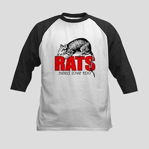"""Rats Need Love Too"" Kids Baseball Jersey"
