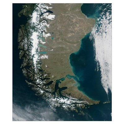 The rugged Andes dominate the left side of this im Poster