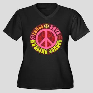 Peace, Love, Nursing School Women's Plus Size V-Ne