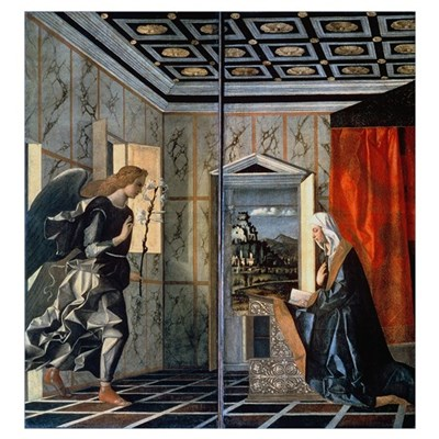 The Annunciation (oil on canvas) (pre-restoration) Poster