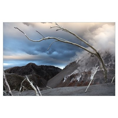 Chaiten eruption steaming Dome Los Lagos Chile Poster