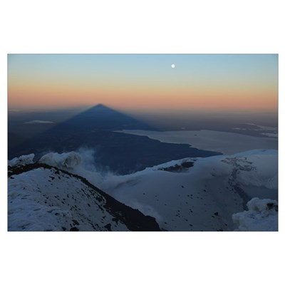 Villarrica summit view with shadow at sunrise Arau Poster