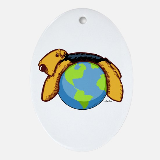 Airedale World Ornament (Oval)
